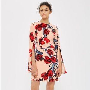 Topshop Floral Split Sleeve A-Line Dress